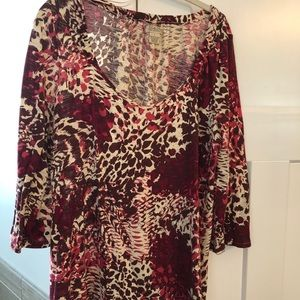 Lucky Brand floral  wine Long sleeve blouse
